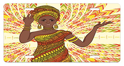 African Woman License Plate by Ambesonne, Dancing Woman Hand Drawing Ethnic Geometric Ornament Colorful Print, High Gloss Aluminum Novelty Plate, 5.88 L X 11.88 W Inches, Green Red Yellow