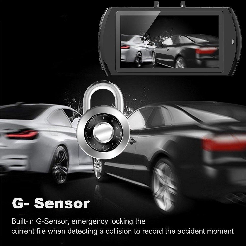 """Beschoi Dash Cam Telecamera per Auto Full HD 1080P 2,7"""" LCD Rigistratore DVR Videocamera Grandangolare 170 Gradi, Visione Notturna, Rilevatore di Movimento, Registrazione in Loop, G-Sensor, con Micro"""