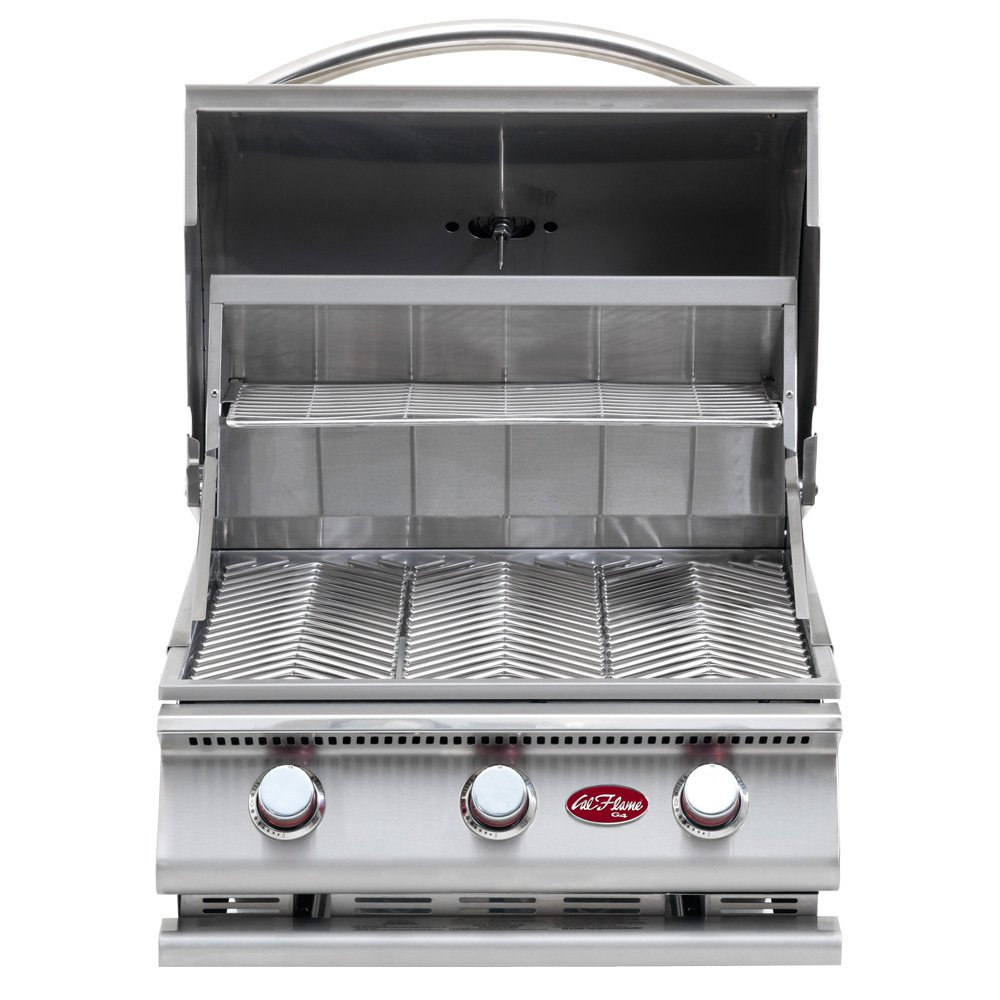 Cal Flame BBQ09G03 BUILT IN G3 3-BURNER GRILL LP 600 sq. in. 45, 000-BTUs Temperature gauge Cast Iron Burners Stainless Steel