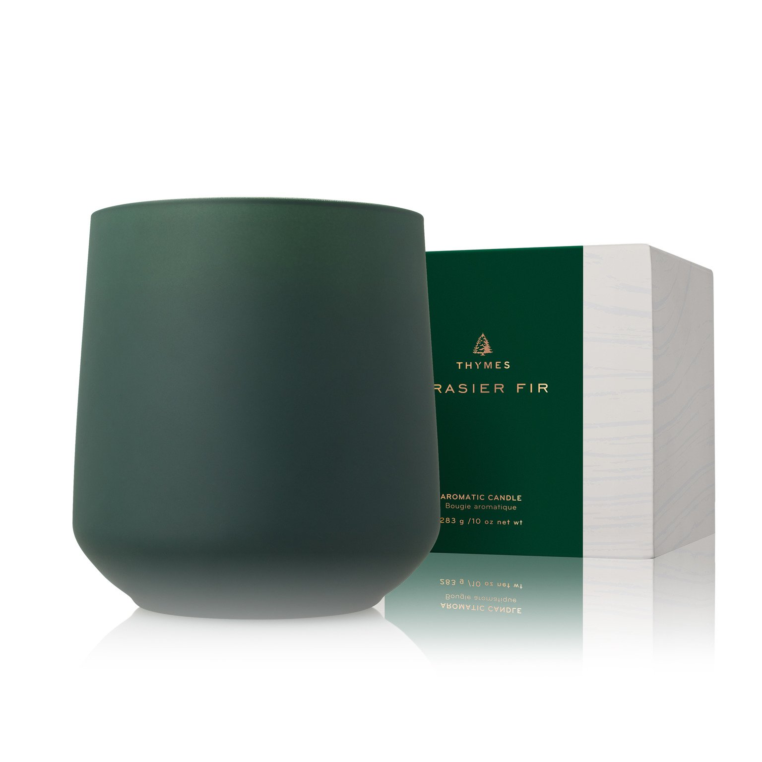 Thymes - Frasier Fir Large Joyeux Candle with Matte Pine Green Glass - 15 Ounces