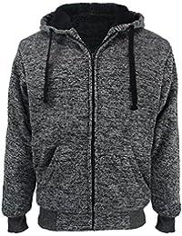Heavyweight Sherpa Lined Plus Sizes Warm Fleece Full Zip Mens Hoodie Padded Sleeve & Rib Cuffs
