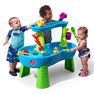 Step2 Rain Showers Splash Pond Water Table   Kids Water Play Table with 13-Pc Accessory Set: Toys & Games