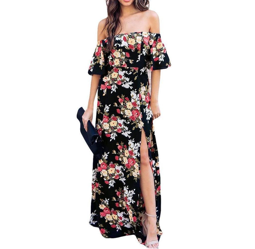 Tomatoa Frauen Lange Maxi Abendkleider Sommerkleid Damen Partykleid Abendkleid Schulterfrei Maxikleid Off Shoulder Elegant Blumendruck (2XL, Schwarz)