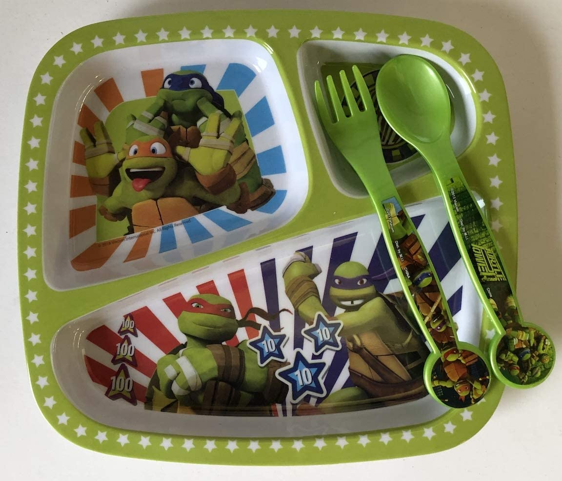 Zak Designs 3-Section Plate featuring Teenage Mutant Ninja Turtles Graphics, Break-resistant and BPA-free Plastic with matching plastic Toddler-Safe Fork and Spoon