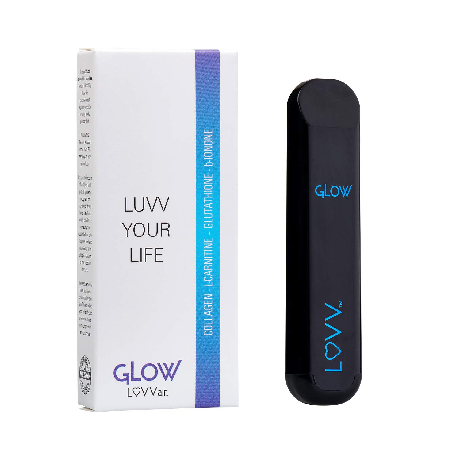GLOW Aromatherapy Personal Pen Diffuser - Natural Lavender Essential Oil Infused with Collagen, L-Carnitine, Glutathione, B-Ionone for a Healthy Glow