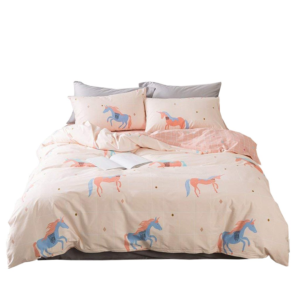 Enjoylife Cartoon Animal Duvet Cover Pink cheval Horse Cute 100% COTTON Reversible Bedding Set 3 Pieces Quilt Comforter Cover Twin Size For Girls Boys