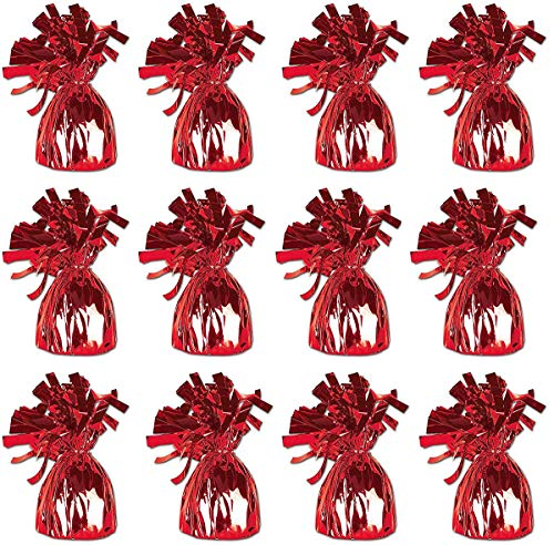 Balloon Table Weights (Red Metallic Wrapped Balloon Weights for Helium Balloons and Birthday Party Decoration, Pack Of 12 ...)
