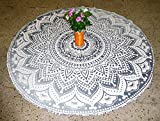 Yoga Mat Mandala Mat Beach Towel Silver Ombre Mandala Round Table Cover Beach Throw Tapestry Hippie Gypsy Tablecloth Round Yoga Mat, 50 Inch 100% Pure Cotton Screen Print Yoga Mat By ''Gemsandcraft''