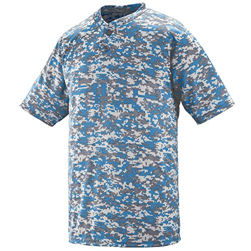 Augusta Sportswear Men's DIGI CAMO Wicking Two-Button Jersey 2XL Columbia Blue Digi