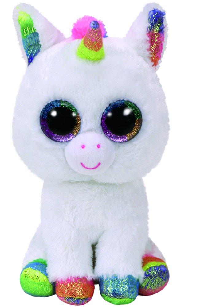 Ty 37157PIXY, Unicorno con occhi luccicanti, Glubschi S, Beanie Boo S, Peluche, Bianco/Colorato, 24cm Spielen / Raten