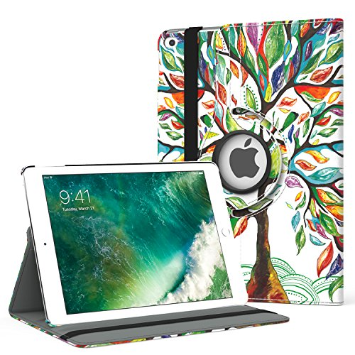 MoKo Case for iPad 9.7 2018/2017-360 Degree Rotating Cover Case with Auto Wake/Sleep for Apple iPad 9.7 Inch (iPad 5, iPad 6), Lucky TREE