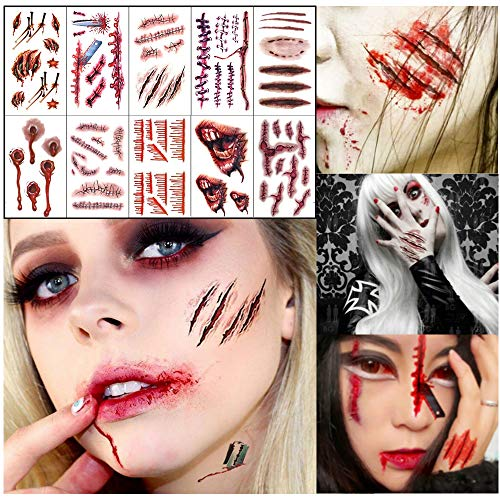 Halloween Face Tattoo Sticker Glitter Red Roses Day