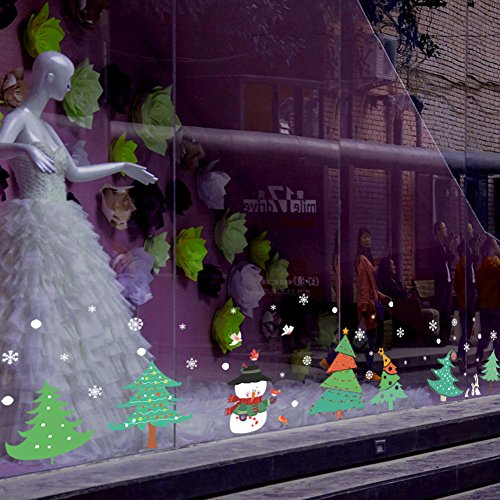 FHDGDVCGDGC Christmas Tree Wall Sticker,Holiday Decoration Wall Stickers Shopping mall Glass Sliding Door Window Wall Sticker Bedroom Window Stickers-A