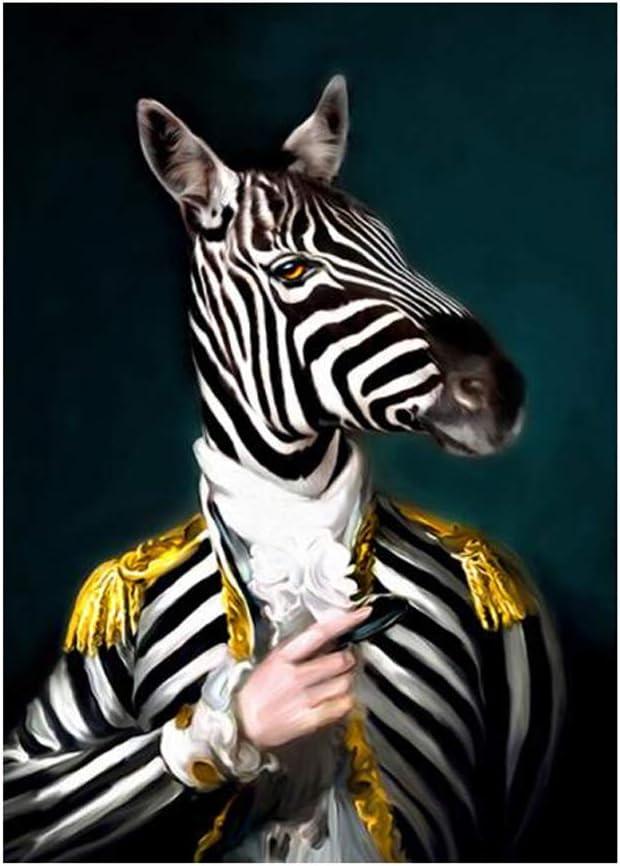 MINRAN DECOR Art Affiche Impression Toile Gentleman Costume Animal Peinture D/écorative Z/èbre Orignal Lion Tableau Murale Chambre Salon p/épini/ère Image sur Toile,1,30x40cm