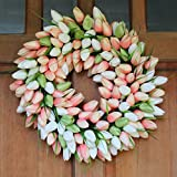 Coral Tulip Front Door Wreath 19 Inch- Stunning Silk Front Door Wreath For Spring And Easter Wreath Display, Extremely Full Design, Beautiful White Gift Box Included