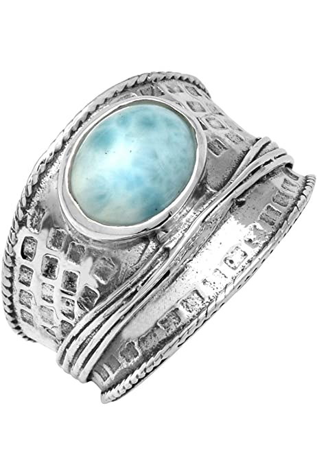 YoTreasure Natural Chrysocolla Ring 925 Sterling Silver Jewelry