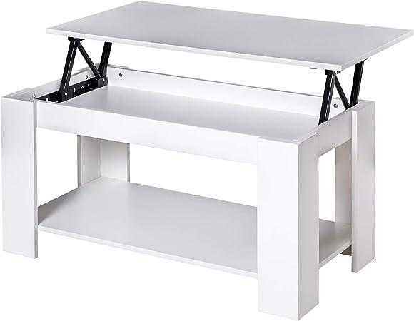 HOMCOM - Mesa de salón con Estante elevable de Madera Blanca 100 x ...