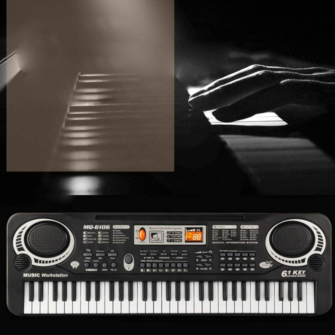 LouiseEvel215 61 Teclas M/úsica Teclado Electr/ónico Digital /Órgano El/éctrico Ni/ños Grandes Regalos con Micr/ófono Aleatorio Instrumento Musical