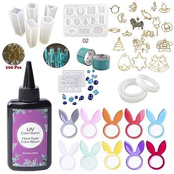 ELEGIR 3 COLORES Resina Epoxi UV Coloreada de Color Kit con 10 Moldes No Hace Falta