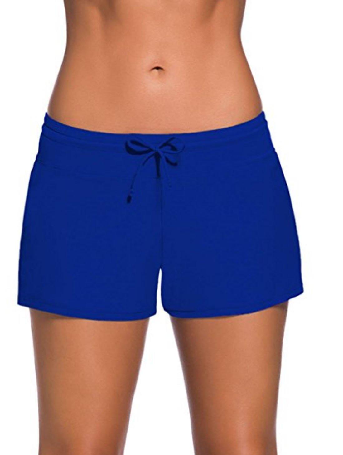 FIYOTE Women Sports Summer Bottom Slit Swim Beach Board Shorts XXX-Large Size Navy Blue