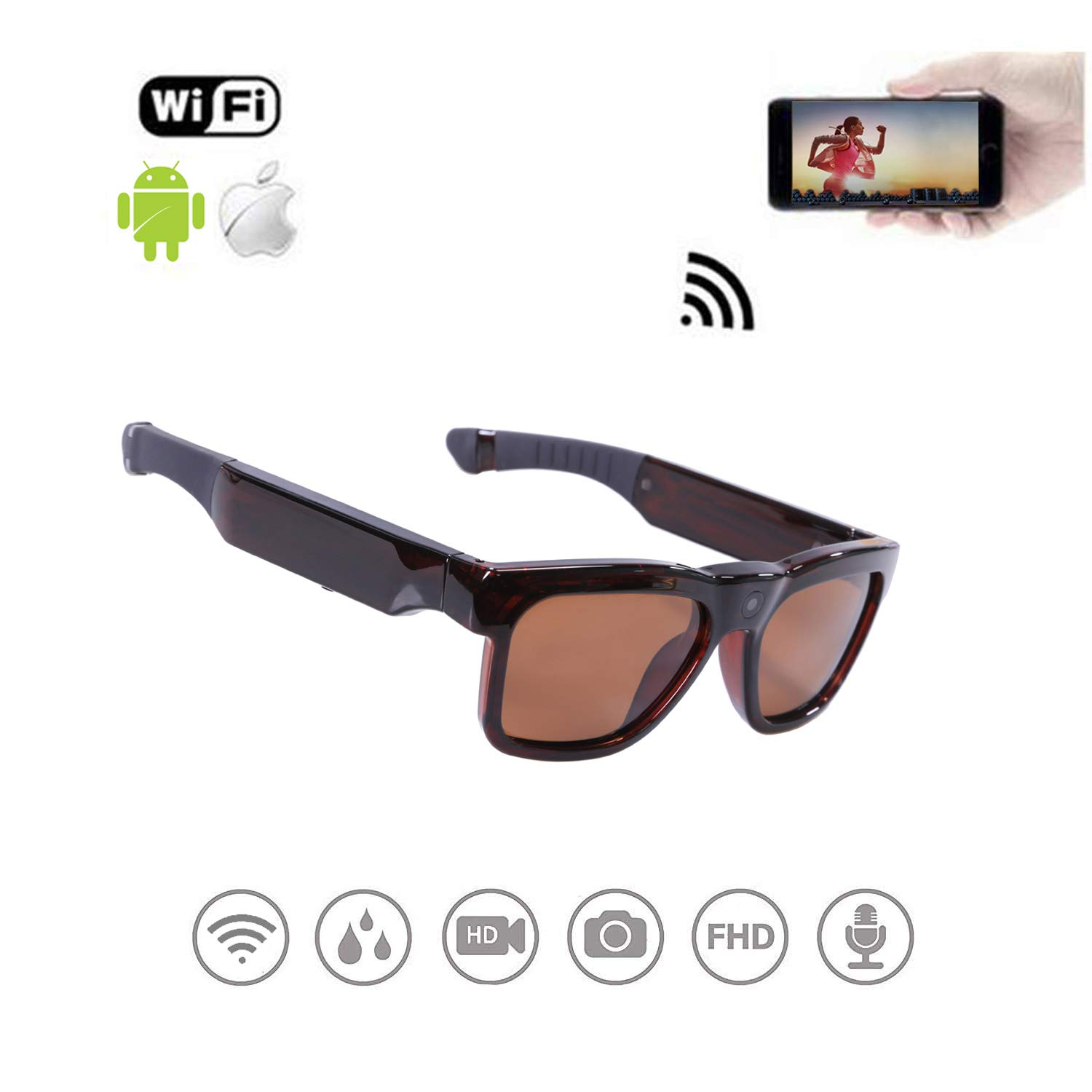 WiFi Live Streaming Video Sunglasses, Streaming Videos & Photos from Glasses to Mobile Phone by App with Ultra Full HD Camera, Built-in 32GB Memory and Polarized UV400 Protection Sunglasses by OhO sunshine