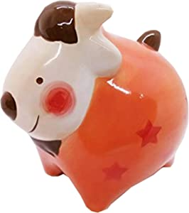WitnyStore Piggy Bank 12 Zodiac Signs Ceramic Handmade Coat Paint Decor Personalized Collectible Money Saving Coin Bank for Kids (Variation) - 5.1 x 5 x 4.4 inches