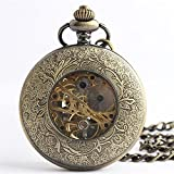 Zxcvlina Classic Smooth Exquisite Butterfly Carved Retro Mechanical Pocket Watch with Long Chain for Women Men Suitable for Gift Giving