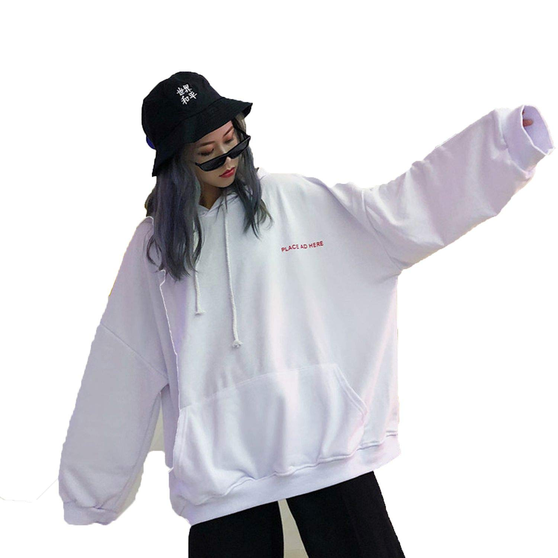 stronggirl Women Hoodie 18 BF Harajuku Letter Print Sweatshirt Loose Long Batwing Sleeve Hooded