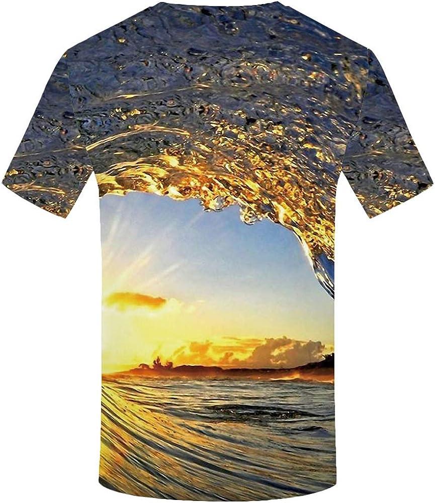 Zaima Camiseta con Estampado De OcéAno En 3D Ropa para Hombre Olas Unisex Luz del Sol Manga Corta Pareja Casual Secado RáPido Camisetas Grandes Tops Mar Playa Hermoso Paisaje Natural: Amazon.es: Ropa