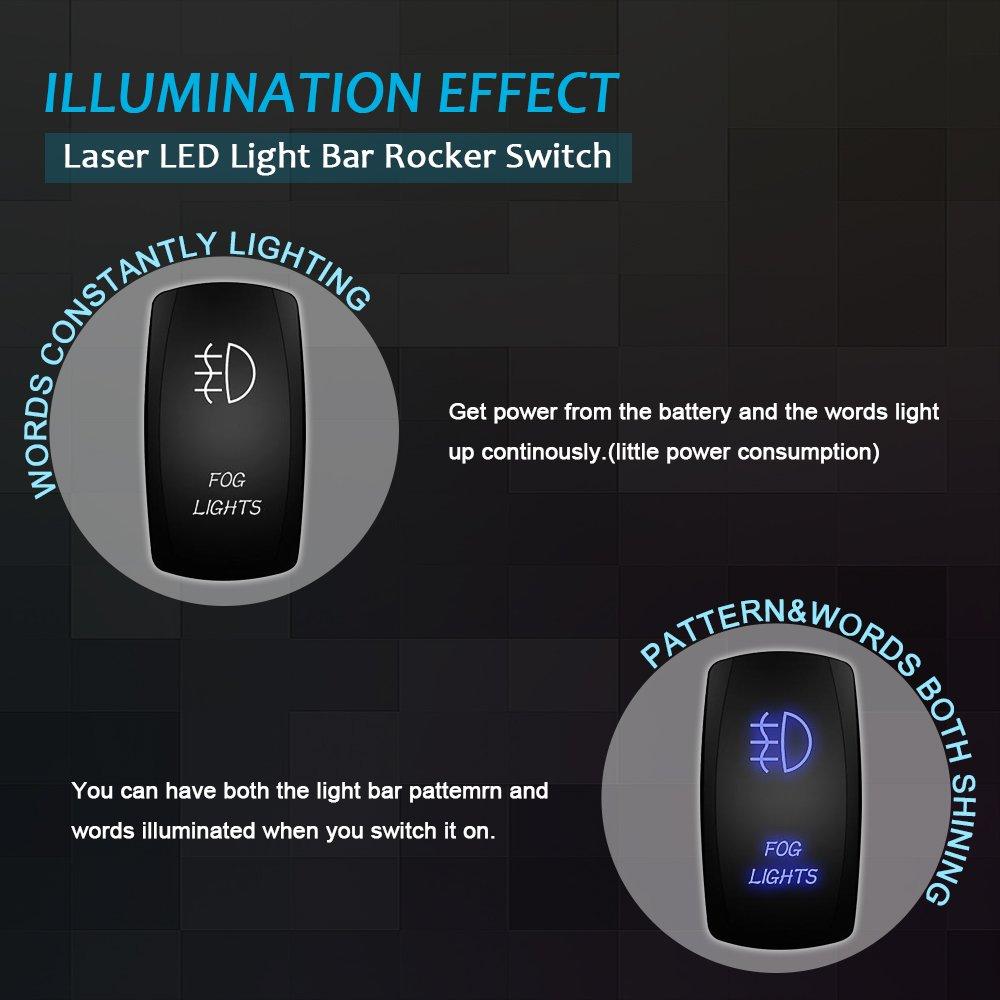 300W Wiring Harness 3 Lead+Blue Off Road LED Light Bar Rocker Switch Fog Lamp