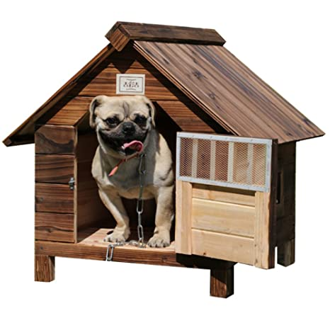 SL&ZX Casa Perro Madera Maciza Exterior,Lluvia Impermeable Carbón Madera casa caseta de Perro Gato
