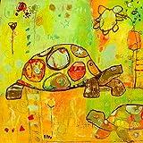 Oopsy Daisy Hello Turtles by Jennifer Mercede Canvas Wall Art, 14 by 14-Inch