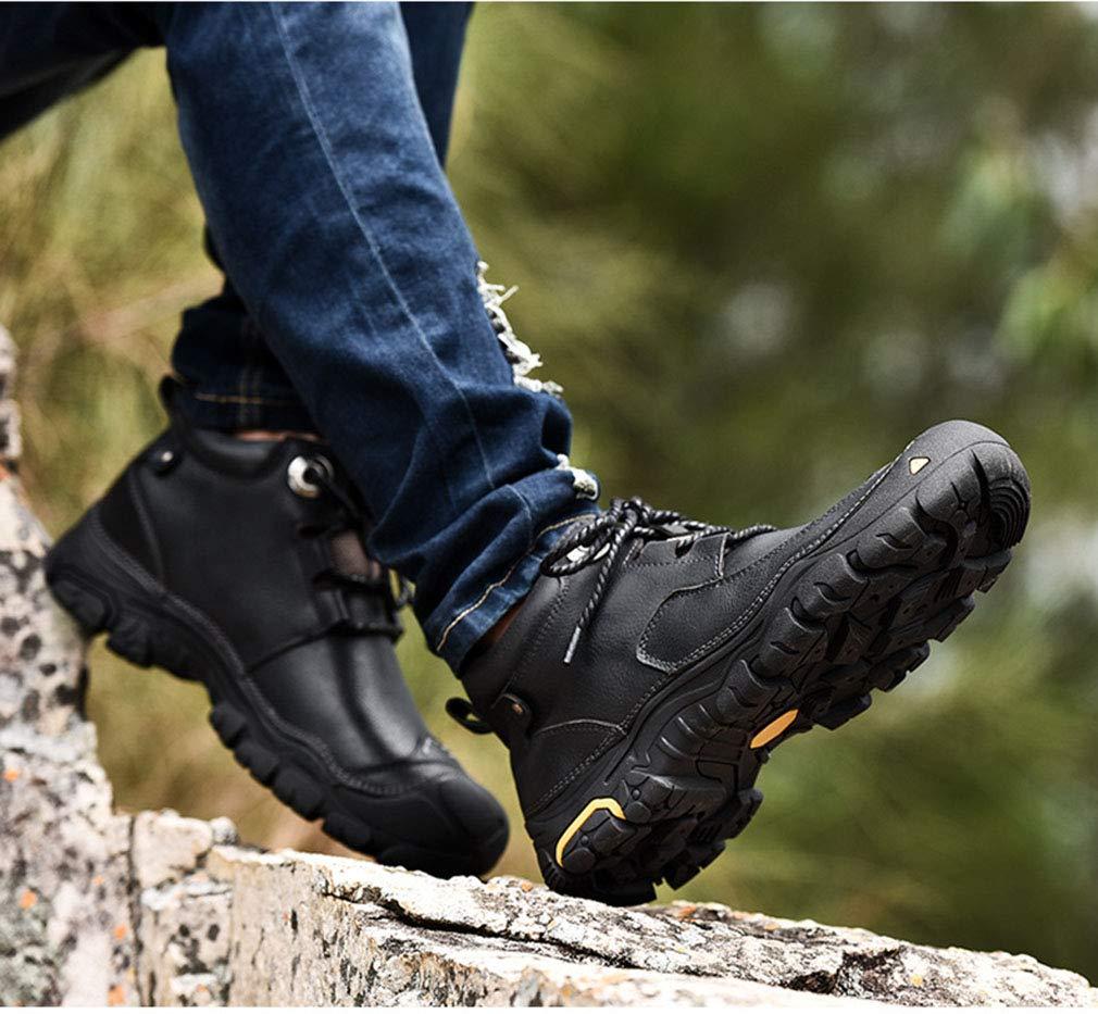 YAN Herbst Herrenschuhe Leder Herbst YAN & Winter Wanderschuhe Outdoor-Wanderschuhe Trail Laufschuhe Rutschfeste High-Top-Casual-Schuhe Fehlen Braun,schwarz,44 6a0c99