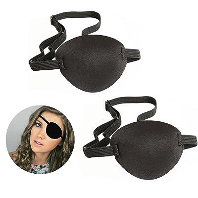 Pirate Eyes Parches, 2 Piezas Eye Patch Parches de Ojo Perezoso con Ajustable Hebilla para Adultos y Niños, Negro: Belleza