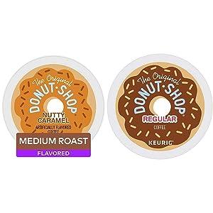 The Original Donut Shop Nutty Caramel, Single-Serve Keurig K-Cup Pods, Flavored Light Roast Coffee, 72 Count & Regular, Single-Serve Keurig K-Cup Pods, Medium Roast Coffee, 72 Count