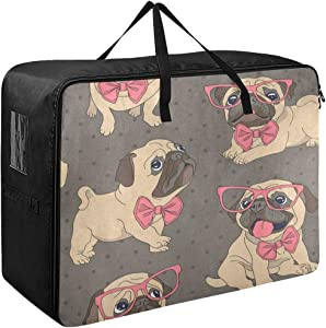 Large Storage Bag Space Saving Lovely Pug Dog in Glasses Polka Dot Laundry Bag Comforter Quilt Bedspread Pillow Luggage Moving Tote Garment Closet Storage Organizer Space Saver