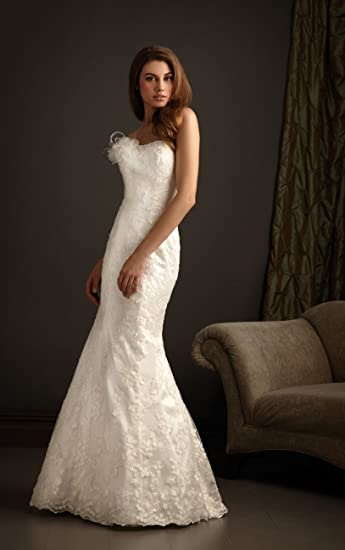 Amazon.com: Hermoso color blanco/marfil encaje de sirena sin ...