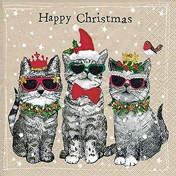 Frohe Weihnachten Katze.Servietten Drei Katzen Wünschen Frohe Weihnachten Amazon De