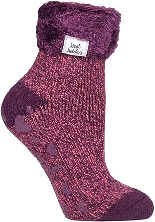Ladies Winter Non Slip Gripper Thermal Slipper Socks with Grips Heat Holders