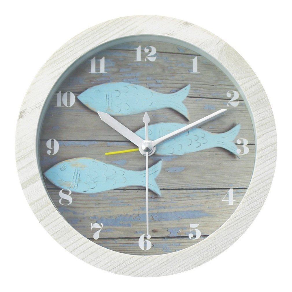 Usany Retro Fish Wood Clock Round Vintage Modern Design Creative 3D Desk Clock Bedside Round Sweep 5-inch Alarm Clock - Blue Wood Fish
