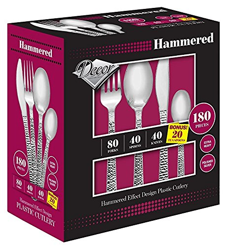 Hammered Teaspoon - Royalty Settings Hammered Collection Premium Plastic Cutlery Set, Includes 240 Heavy Duty Plastic Forks, 120 Plastic Knives, 120 Plastic Spoons with BONUS 60 Plastic Teaspoons, Set for 120 Persons