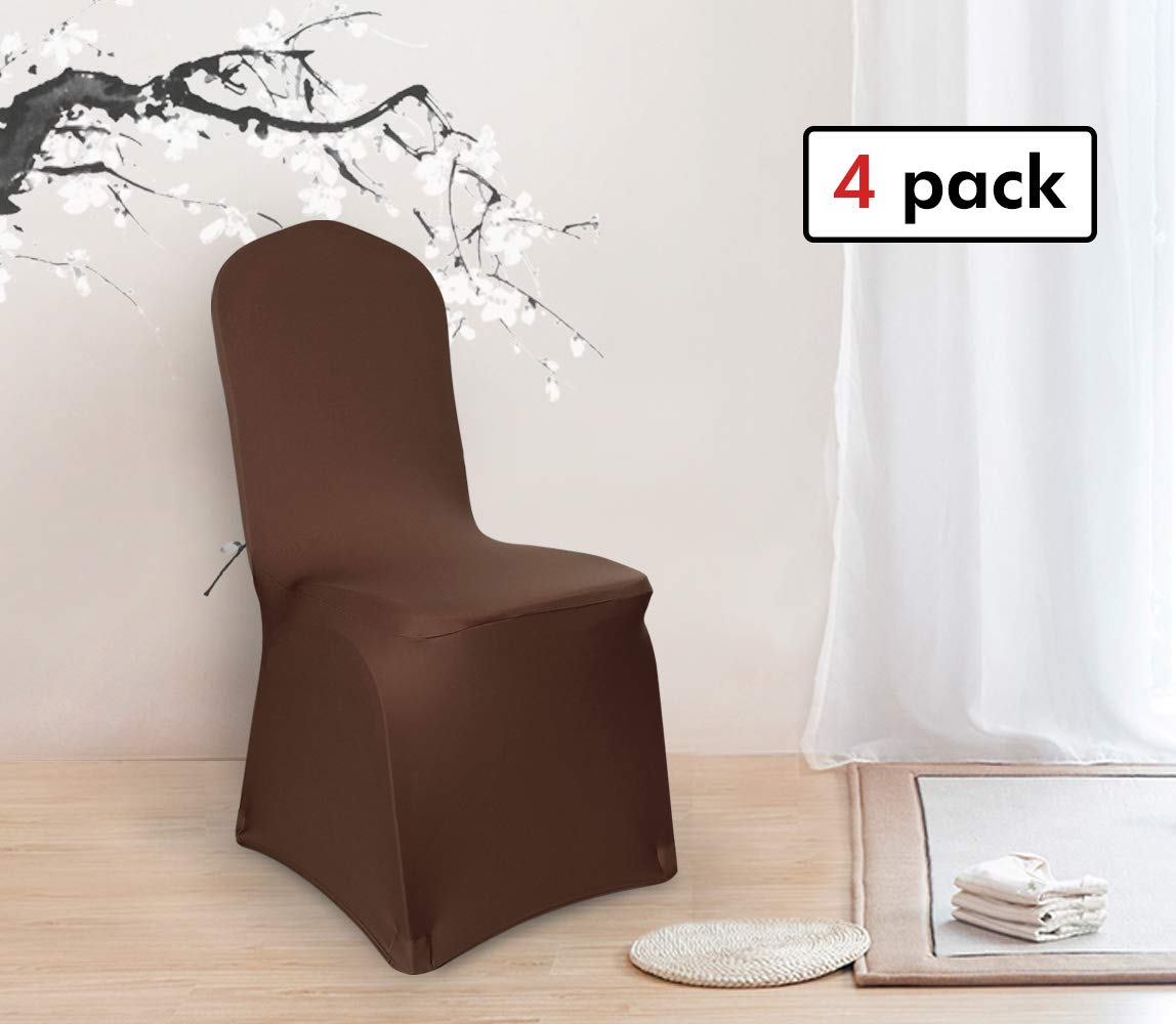 Deconovo Set of 4pcs Brown Color Stretch Chair Covers Spandex Dining Chair Cover for Wedding Banquet Party by Deconovo (Image #8)