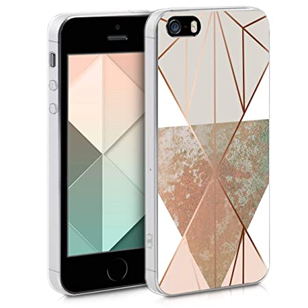 kwmobile Apple iPhone SE / 5 / 5S Hülle - Handyhülle für Apple iPhone SE / 5 / 5S - Handy Case in Beige Rosegold Weiß