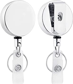 Heavy Duty Metal Retractable Badge Reel with Steel Cord Cable by Specialist ID
