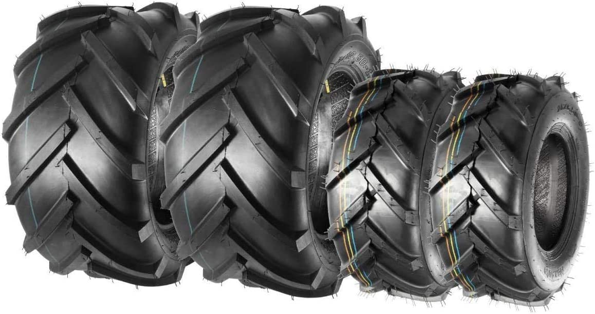 MaxAuto Lawn Mower Tires 16X6.50-8 Front & 23X10.50-12 Rear(2 Front tires+2 Rear Tires)