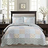Kasentex Country-Chic Printed Pre-Washed Set. Microfiber Fabric Design Quilt + 2 Shams, QUEEN 90X90+20X26 X2, Multi-MIX