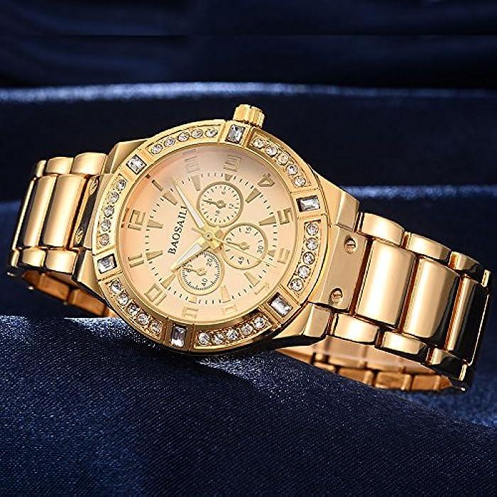 Moda Fashion Women Ultra Thin Relojes Dorados Quartz Regalos Para Mujer EB0035