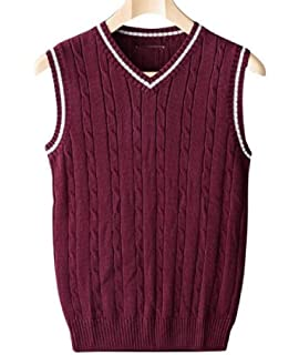 Lentta Mens Slim Stripe Sleeveless Button Down V Neck Wool Cashmere Knitted Vest