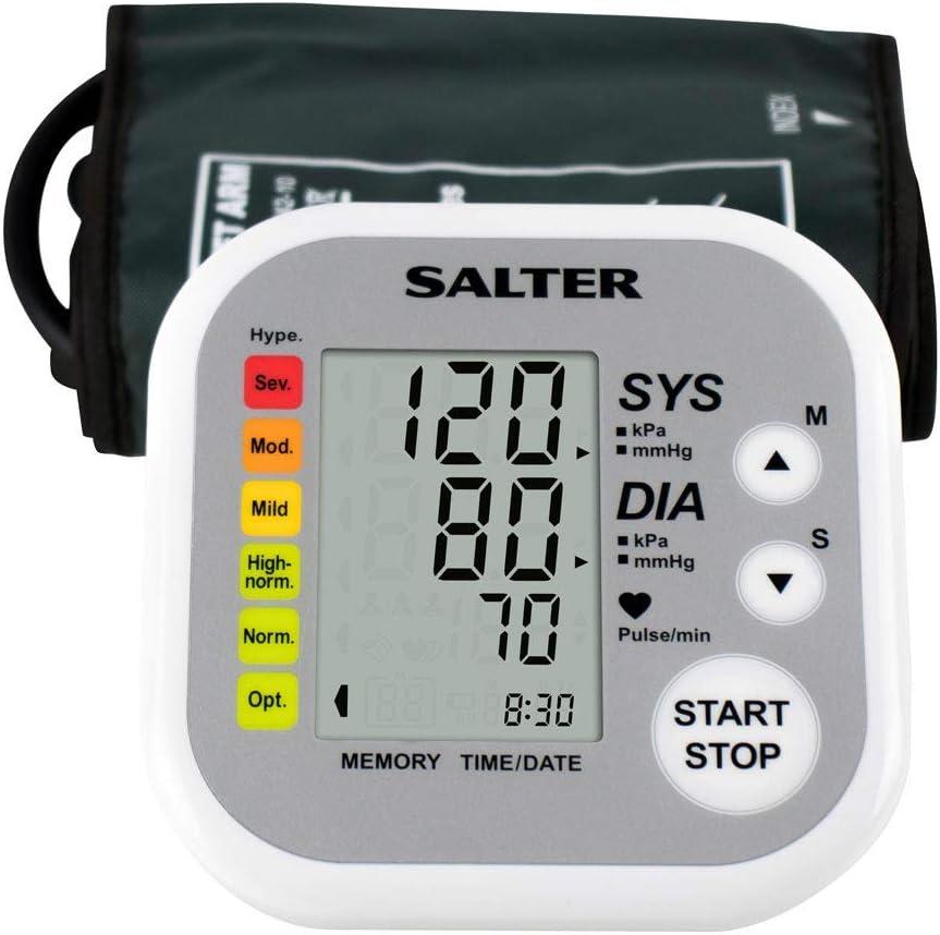 Salter Monitor de presión arterial automático, Detector de pulso automático, Memoria de 60 espacios, Brazalete de 22-32 cm