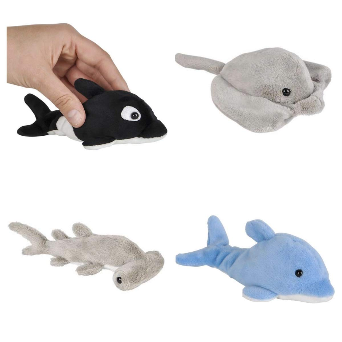 Hammerhead SHARK 4 STINGRAY Four Adorable Mini SEA LIFE 5 Plush Under the Sea PARTY FAVORS BEANIE Stuffed Animals STOCKING Stuffers GIFTS Fish RIN Dolphin /& Orca Whale Toys Ocean FISH